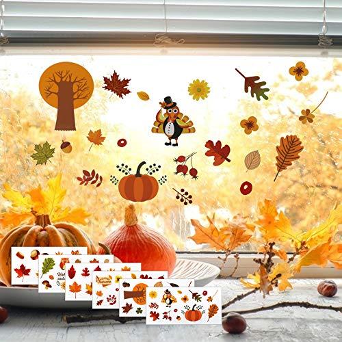 LANMOK 6 blätter Herbst Fensterbilder Erntedankfest fensteraufkleber ohne Kleber Thanksgiving Fensterdeko Ahornblätter Marone Fenster Sticker Deko für Kinderzimmer Cafe Buchhandlung
