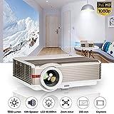 WIKISH Proyector de video LED 1080p, LCD Proyectores de cine para cine en...