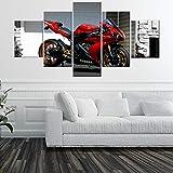 HUANGXLL Lienzo Arte de la Pared Cartel Impreso en HD Marco Modular Imagen de Motocicleta Moderna 5 Piezas Race Moto Decoración del hogar para Sala de estar-30x40-30x60-30x80cm-Sin Marco