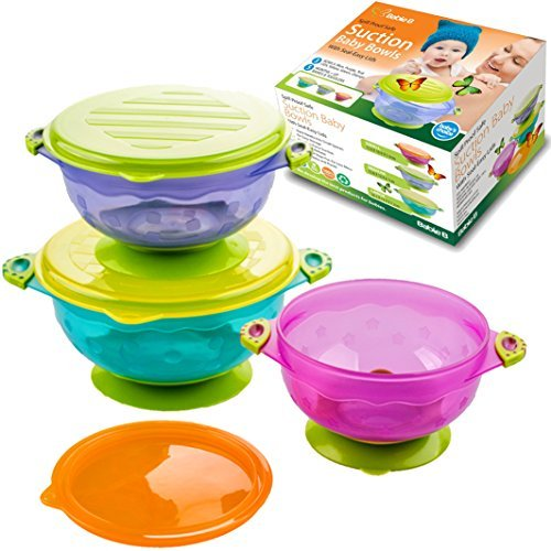 Baby Bowls and Matching Lids - Suction Cup Bowls for Babies, Toddlers & Infants - Set of 3 Sizes - 6 Pieces