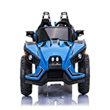 ANEKEN Kids Ride On Car 2 Seats with Remote Control, 12V Kids Toy Electric Ride On Car with Spring Suspension Wheels, 3 Speeds, LED Lights, Music, AUX Cord, USB Port - Blue