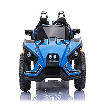 ANEKEN Kids Ride On Car 2 Seats with Remote Control 12V Kids Toy Electric Ride On Car with Spring Suspension Wheels 3 Speeds LED Lights Music AUX Cord USB Port - Blue