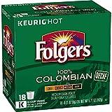 Folgers Decaf 100% Columbian, Medium-Dark Roast, K Cup Pods, 18 count (Pack of 4)