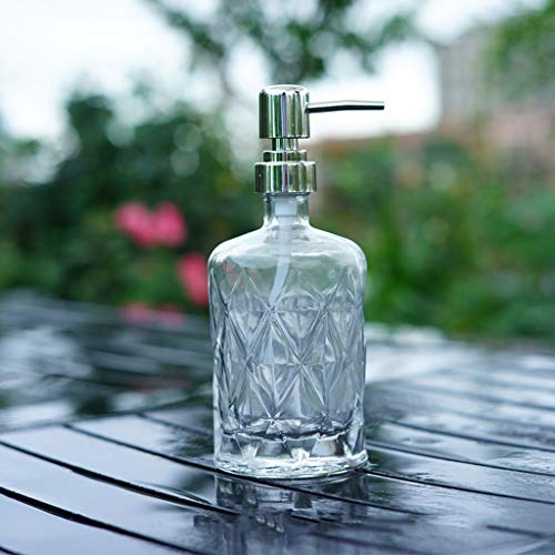 WZNING Soap Dispenser Glass, Soap Pump Dispenser with Embossed Design, Thick Clear Glass Jar Soap Dispenser Refillable and Eco Friendly housewares,Dispenser (Size : B)