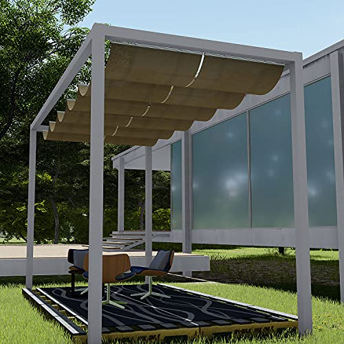 E&K Sunrise 3'Wx16'L Brown Retractable Pergola Canopy Shade Cover Slide on...