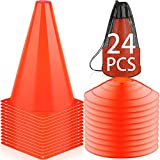 LANNEY 9 Inch Cones Sports, 24 Pack Training Soccer Cones Orange Agility Field Marker Cones for Drills Football Basketball Practice, Plastic Traffic Sport Cone for Outdoor Indoor Activity Or Events