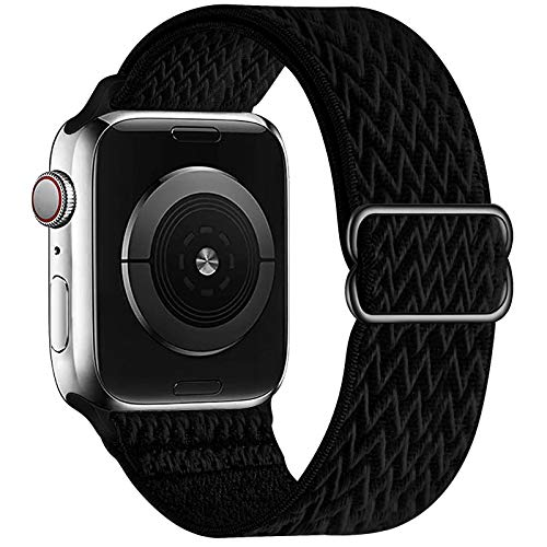 OHCBOOGIE Stretchy Solo Loop Strap Compatible with Apple Watch Bands 42mm 44mm ,Adjustable Stretch Braided Elastics Weave Nylon Women Men Wristband Compatible with iWatch Series 6/5/4/3/2/1 SE,Black