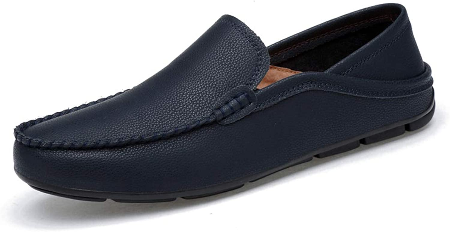 Men's Comfort Loafers Leather Spring Fall Comfort Loafers & Slip-Ons Black White Brown bluee,C,36