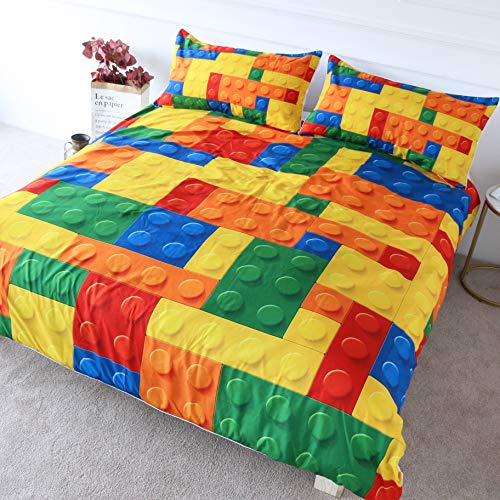 BlessLiving Colorful Toy Bedding Building Blocks Pattern Duvet Cover 3 Pieces Kids Boys Fun Brick Bedspread Set (Single)