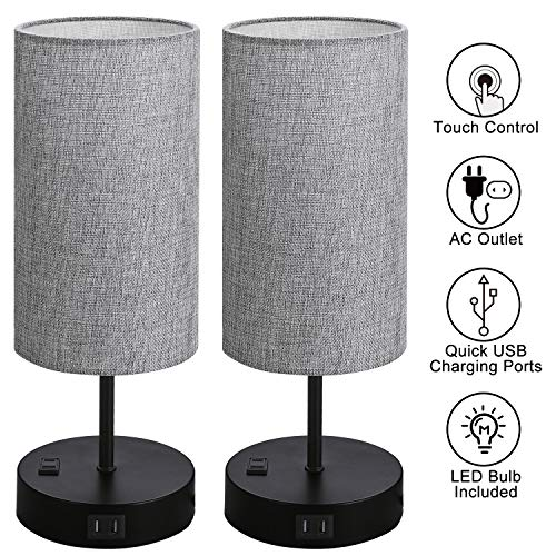 Set of 2 Touch Control Bedside Table Lamp, 3-Way Dimmable Nightstand Lamps with 2 USB Charging...
