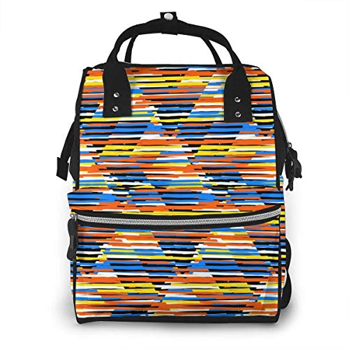 UUwant Sac à Dos à Couches pour Maman Bright Colorful Stripes Multicolor Pattern Diaper Bags Large Capacity Diaper Backpack Travel Nappy Bags Mummy Backpackling