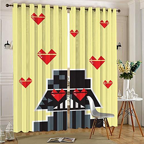 STTYE Cortinas opacas con bloqueo de luz, cortinas opacas de gran calidad con diseño de Star Wars Darth Vader para decoración del hogar, 75 x 166 cm x 2 piezas