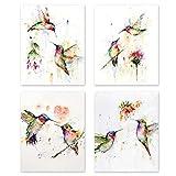 KAIRNE Abstraktes Poster Aquarell Vogel - Kolibri und