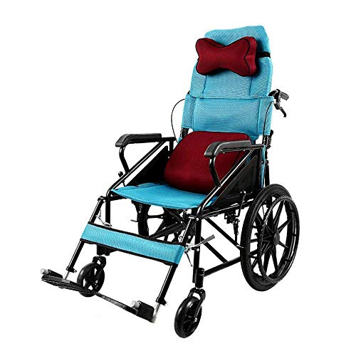CCLLA Silla de Ruedas Plegable Transporte para discapacitados Médico Ergonómico Portátil Parálisis de la Parte Inferior del Cuerpo Ancianos discapacitados Scooter Silla de Viaje con reposacabezas