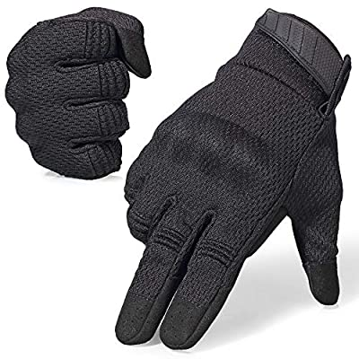 AXBXCX Breathable Flexible Touch Screen Full Finger Motorcycles Gloves for Men Running Airsoft Paintball Driving ATV Motocross Climbing Camping Black L from AXBXCX