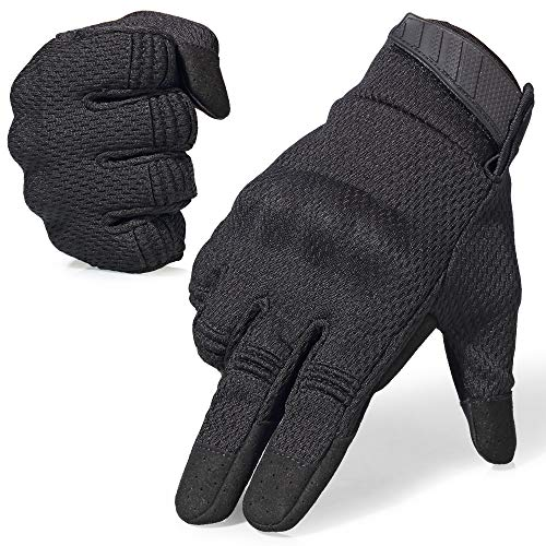 AXBXCX Breathable Flexible Touch Screen Full Finger Motorcycles Gloves for Men Running Airsoft Paintball Driving ATV Motocross Climbing Camping Black L