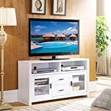 IDUSA Smart Home 151202 Mid Century Modern White Living Room TV Stand fit for 50 Inch TVs, TV Stands for Home Entertainment Center