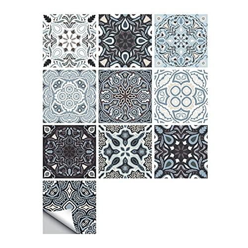 ESORST 10 unids/Set Ornamento Floral Piso de la Pared Pegatina de la Pared Cocina Cerámica Cerámica Calcomanías de la Pared Impermeable Crystal Tile Art Mural (Color : V, Size : 30cmX30cmX10pcs)