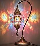DEMMEX 2020 Turkish Moroccan Mosaic Table Lamp with US Plug & Socket, Swan Neck Handmade Desk Bedside Table Night Lamp, Decorative Tiffany Lamp Light Multicolor, 19'