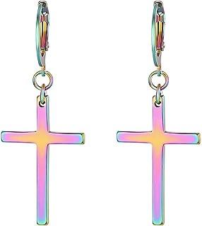 JewelryWe Gioielli Orecchini Unisex Lungo, Orecchini a Cerchio con Pendente Croce, in Acciaio Inossidabile, Colore Argento...