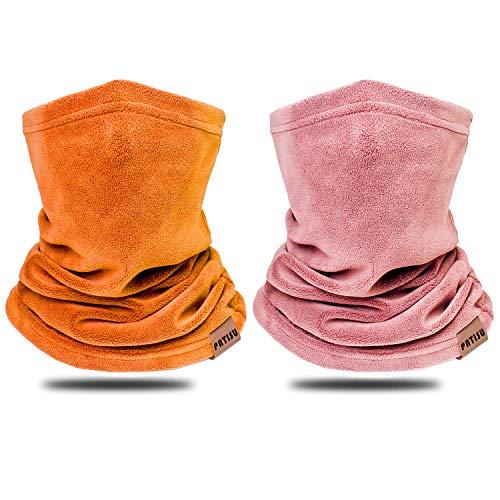 2 PCS Kids Neck Warmer Gaiter Winter Fleece Neck Cover Balaclava Windproof Face Cover Mask for Ski Motorcycle (Pink/Orange, 2)