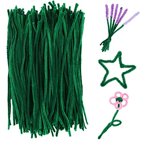 150 Pieces Green Pipe Cleaners Chenille Stem, Pipe Cleaners Chenille Stem for Creative Home Arts and Crafts Project Decoration Supplies