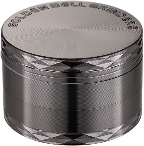 LIHAO 2 (5cm) 4 Piezas Grinder de Especias Molinillo de Hierbas de Aleación de Zinc con Decoración de Diamantes - Níquel Negro