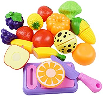 12-Pieces karezonine Play Kitchen Cutting Vegetables Fruits Food Toys