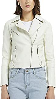 DISSA PP0908 Women Faux Leather Biker Jacket Slim Coat Leather Jacket
