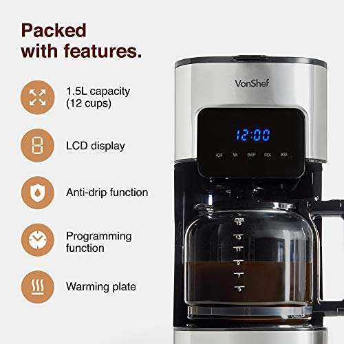 VonShef Filter Coffee Machine, 1.5L Capacity Electric, Digital, Stainless Steel Coffee Maker for Up to 12 Cups, Programmable 24hr Timer with LCD Display, Reusable, Washable Filter – Black & Silver