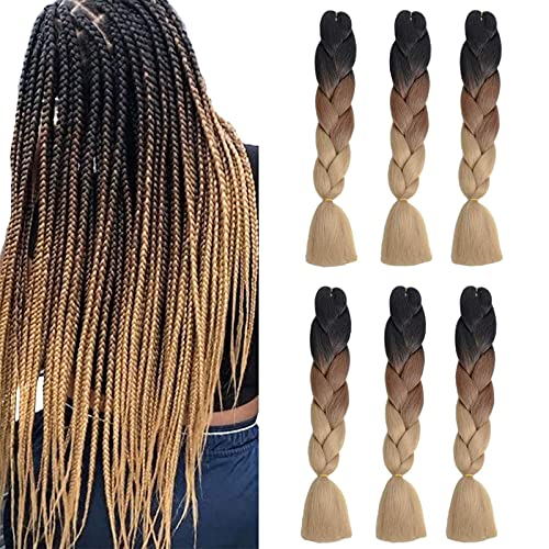 6Pack Tresses Jumbo Ombre trois tons Kanekalon Jumbo Braids Synthetiques Extensions Braids Ombre (24 pouces, noir/marron/brun clair)