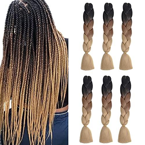 6Pack Extensiones de cabello Ombre Jumbo Braiding Hair Tres tonos Kanekalon Jumbo Braids Extensiones sintéticas de cabello trenzado Ombre (24 pulgadas, negro/marrón/marrón claro)