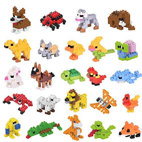 24 Pcs Easter Eggs with Toys Inside for Easter Basket Stuffers, Mini Animal Building Blocks for Kids Easter Gifts, Easter Egg Fillers, Easter Party Favors