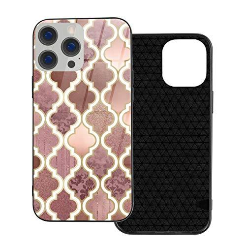 Funda protectora compatible con iPhone 12 / iPhone 12 Pro Case Rosegold Rosa y Cobre Azulejos Marroquíes Carcasa de vidrio templado