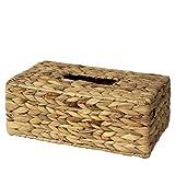 Made Terra - Caja de pañuelos rectangular tejida a mano, organizador de servilletas para mesa de comedor, cocina, baño, coche y oficina (jacinto de agua)