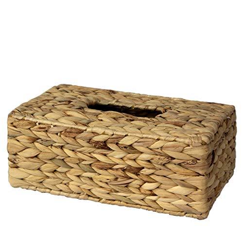 Made Terra - Caja de pañuelos rústico para caja de pañuelos | Organizador de servilletas de papel tejido a mano para mesa de comedor, cocina, baño y oficina (rectángulo de jacinto de agua)
