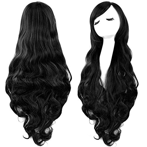 """Rbenxia Curly Cosplay Wig Long Hair Heat Resistant Spiral Costume Wigs Anime Fashion Wavy Curly Cosplay Daily Party Black 32"""" 80cm"""