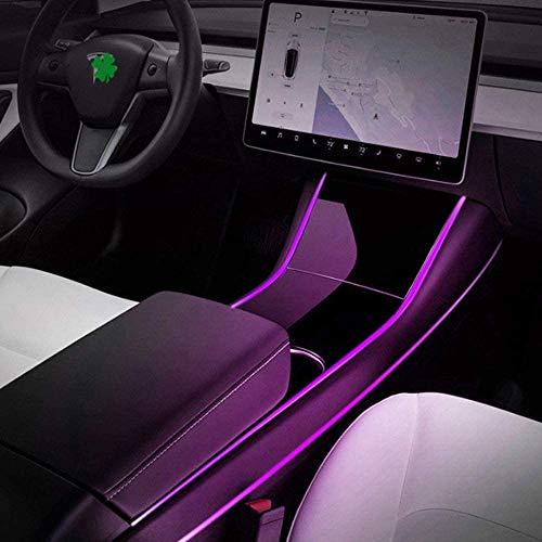 HYNB 4-delig interieur LED-strip auto-sfeer 7-kleuren verlichting, sfeerverlichting modificatie voor Tesla 3 Three III, accessoires, APP-bediening [Energieklasse A +]