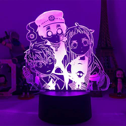 Luz de noche 3D Hanako-kun Serie de animación Atado al inodoro Nuevo colorido Anime Lámpara de mesa táctil Control remoto USB Luz de sueño creativa, 7 colores Sin control