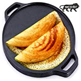 urbanhouse Pre-Seasoned Cast Iron Dosa Tawa 12 inches, Perfect for Cooking on Gas, Induction and Electric Cooktops (Black)