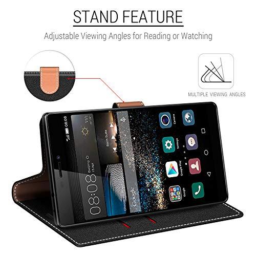 COODIO Handyhülle für Huawei P8 Handy Hülle, Huawei P8 Hülle Leder Handytasche für Huawei P8 Klapphülle Tasche, Schwarz/Rot - 4