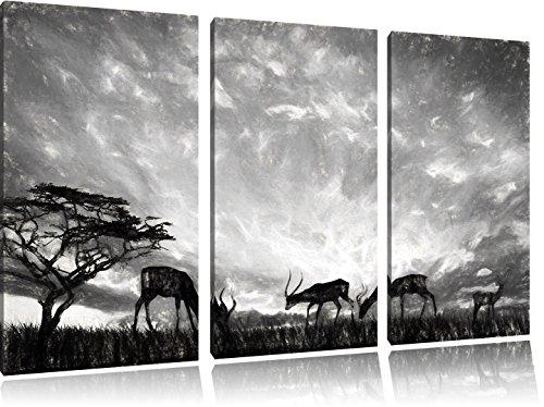Pixxprint Tiere in der Natur / 3-Teilig/Gesamtmaß 120cm Leinwandbild bespannt auf Holzrahmen/Wandbild Kunstdruck Dekoration