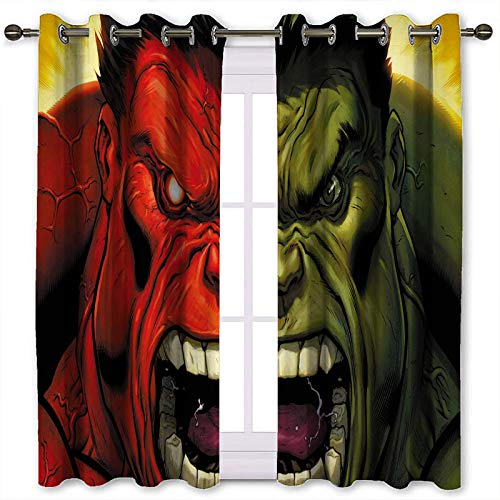 SSKJTC Sound Proof Curtains for Window Hulk vs Red Hulk Thermal Insulated Drapes for Kitchen Bedroom W72 x L63 Inch