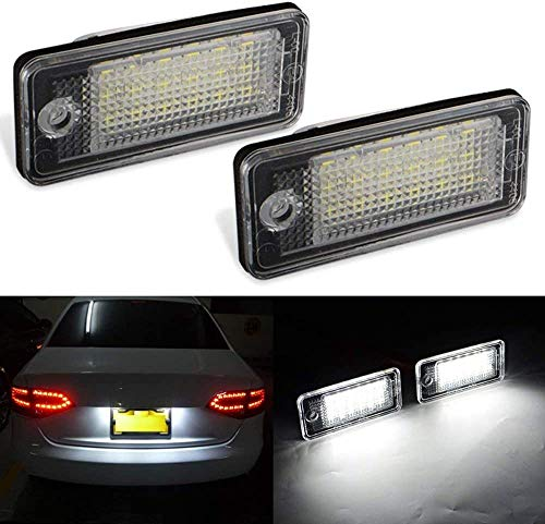 MAXHAWK LED License Plate Light Assembly Direct Replacement For Audi A3 S3 A4 S4 A5 A6 S6 A8 S8 Q7 RS4 6000K White SMD Error Free Rear Number Plate Tag Lamp