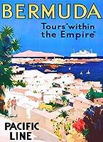 ERZAN大人の子供のおもちゃバミューダ島ツアー帝国カリブビンテージ旅行広告芸術創造的なギフト300ピース ジグソーパズル