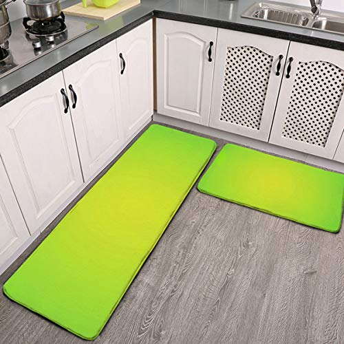 2 Pcs Kitchen Rug Set, Lime Green Non-Slip Kitchen Mats and Rugs Soft Flannel Non-Slip Area Runner Rugs Washable Durable Doormat Carpet