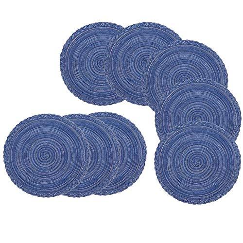 Gesh Juego de 8 manteles individuales redondos de tejido perfecto para otoño, cenas, barbacoas, fiestas de Navidad y uso diario, 35,5 cm, color azul