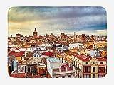 ABAKUHAUS Ciudad Vieja Casas Tapete para Baño, Valencia, España Ver, Decorativo de Felpa Estampada con Dorso Antideslizante, 45 cm x 75 cm, Multicolor