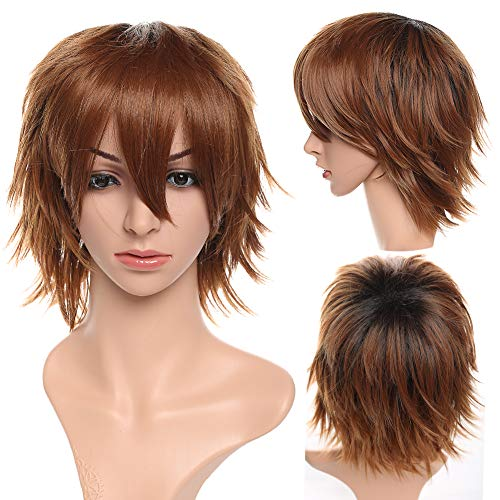 S-noilite Unisex Cosplay Short Fluffy Straight Hair Wig Women Mens Cartoon Anime Con Party Dress Full Wigs Yellow