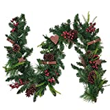 Valery Madelyn 6ft/183cm Pre-Lit Christmas Garland, Red and Green 20 LED Lights with 8 Modes, Includes Pinecone and Berries, Christmas Decoration for Mantel Window Frame